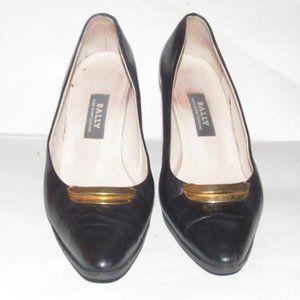 Bally Supple Black Almond Toe Kitten Heels